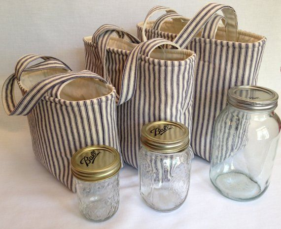 Zero Waste Custom 2 Jar Lunch Bag, Jars to Go ticking stripe mason