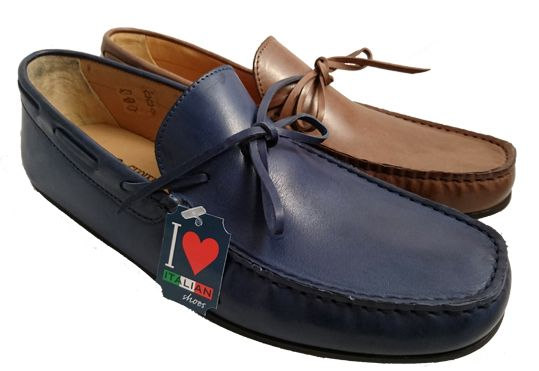 Brown leather loafers for men, made in Italy by Antica Cuoieria