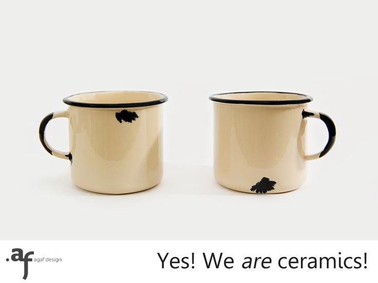 2 x The Not Enamel Handmade Ceramic Mug Cream by AgafDesign