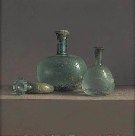 Henk Helmantel (1945- ) old blown glass bottles
