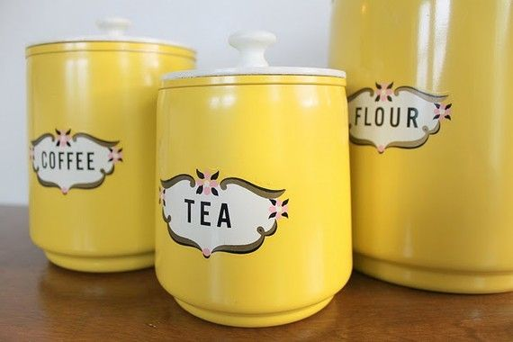Vintage Yellow Kitchen Canisters I can probably replicate for 10 dollars