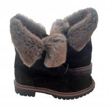 Brown Suede Leather Fur Winter Boots Kali Shoes #shoes #boots #fur #kalishoes