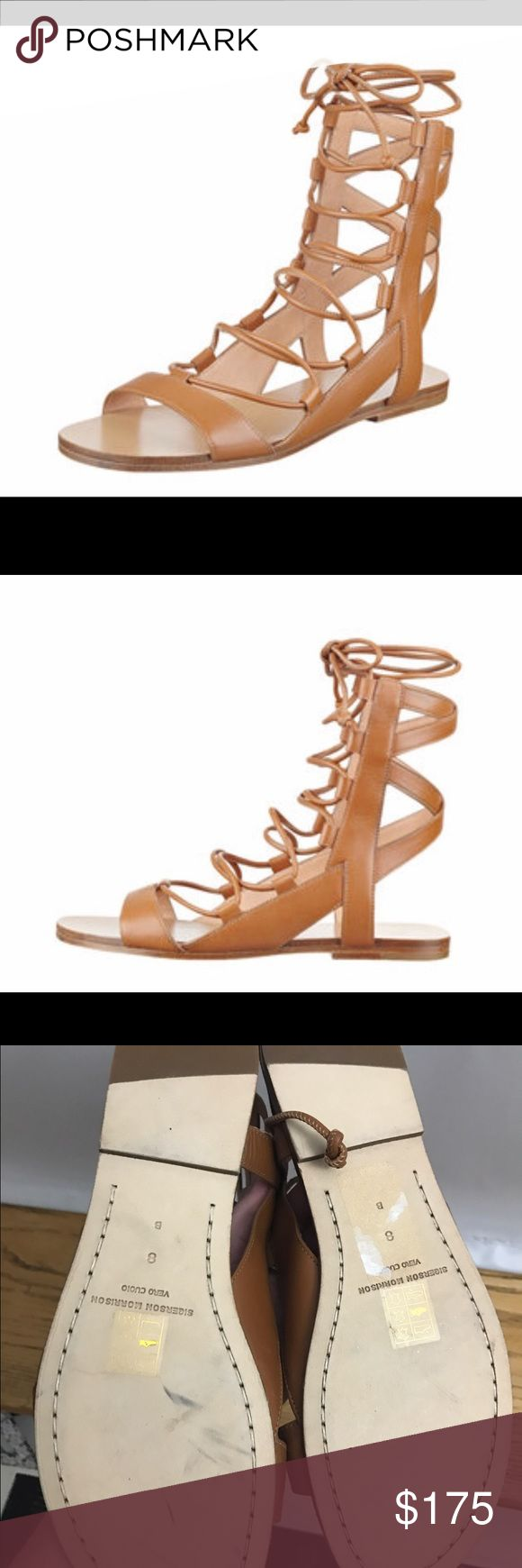 Sigerson Morrison size 8 tan leather gladiator Sigerson Morrison size 8 tan leather gladiator sandal. New with minimal scuff marks on the bottom. Never been worn, in great condition and perfect for summer! Sigerson Morrison Shoes Sandals