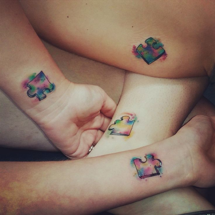 BFF puzzle tattoos that come together and make a SQUARE