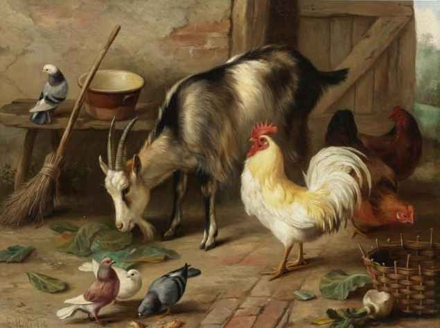 British Paintings: Edgar Hunt - A Goat, Chicken and Doves in a Stable