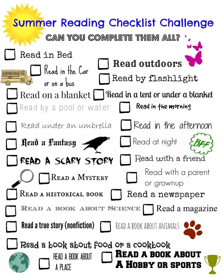 Summer Reading Challenge Checklist  - FREE printable!