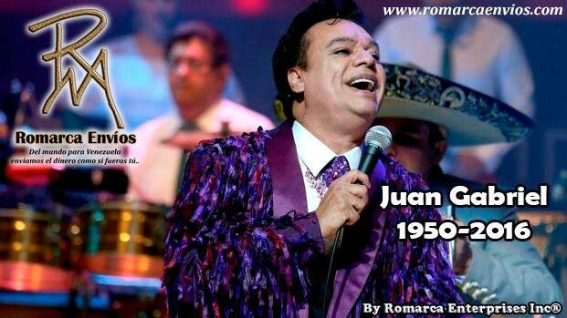Romarca Envios lamenta el fallecimiento del reconocido cantante mexicano Juan Gabriel.   #RomarcaEnvios #EnvioDeDinero #JuanGabriel