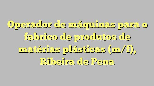 Operador de máquinas para o fabrico de produtos de matérias plásticas (m/f), Ribeira de Pena