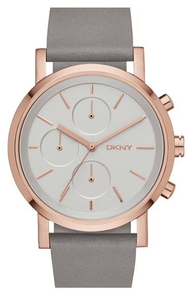 DKNY 'Soho' Chronograph Leather Strap Watch, 38mm at Nordstrom.com. A sleek numberless dial with minimalist subdials details a streamlined watch secured with a smooth leather strap.