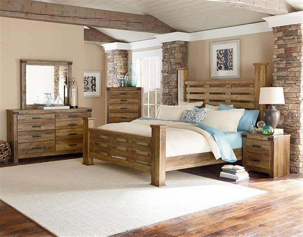 Montana Rustic Buckskin Wood 5pc Bedroom Set w/King Poster Bed