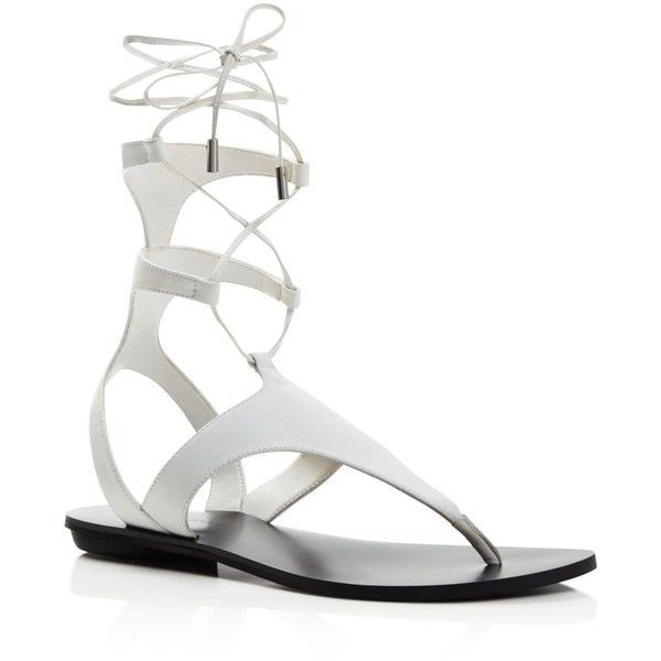 Kendall + Kylie Faris Flat Gladiator Sandals ($110) ❤ liked on Polyvore featuring shoes, sandals, white, white gladiator sandals, flat gladiator sandals, roman sandals, white sandals and gladiator sandals