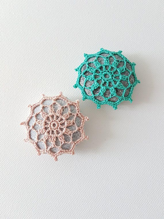 Crocheted Stone Lace Doily Paperweight Sea Home Decor C 4
