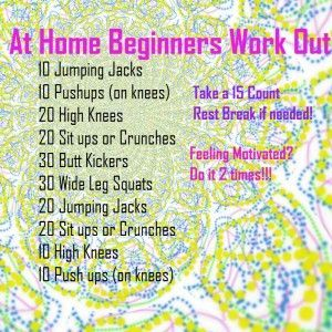 At Home Beginners exercise program--no gym   needed.