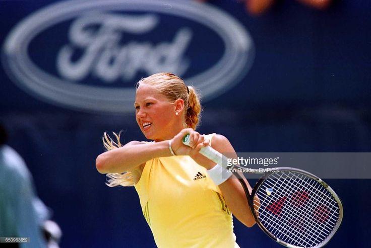 Russia's Anna Kournikova in action against doubles partner Barbara Schett.