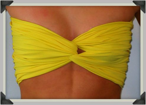 Bright Yellow Bandeau Top  Spandex Bandeau  Bandeau by Sidewalk616, $20.00