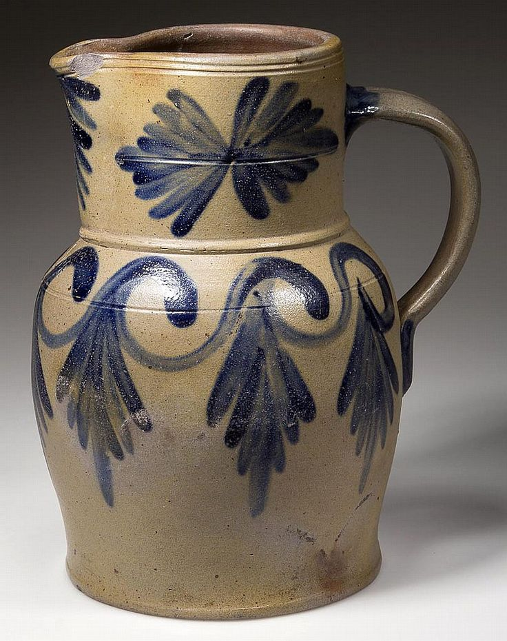 "STAMPED ""H.C. SMITH / ALEX A"", ALEXANDRIA, VIRGINIA decorated stoneware pitcher, 1 gal. Probably B.C. Milburn (1805-1854) for Hugh Charles Smith (1804-1854) at Wilkes Street pottery, Alexandria, VA. From the collection of the late John and Lil Palmer, Purcellville, VA. Purchased from Kelly Kinzle, New Oxford, PA, 2003. Jeff Evans Auctions, 03/05/2014, $8625."