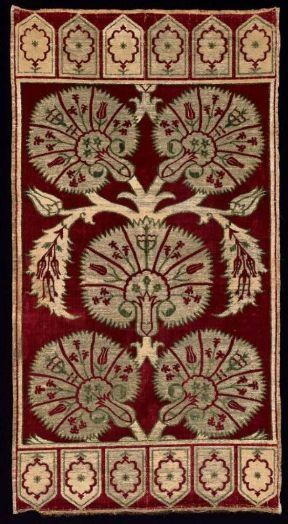 17th Century ottoman yastik (pillow cover) • carnations, tulips and hyacinths on silk with metal brocade: