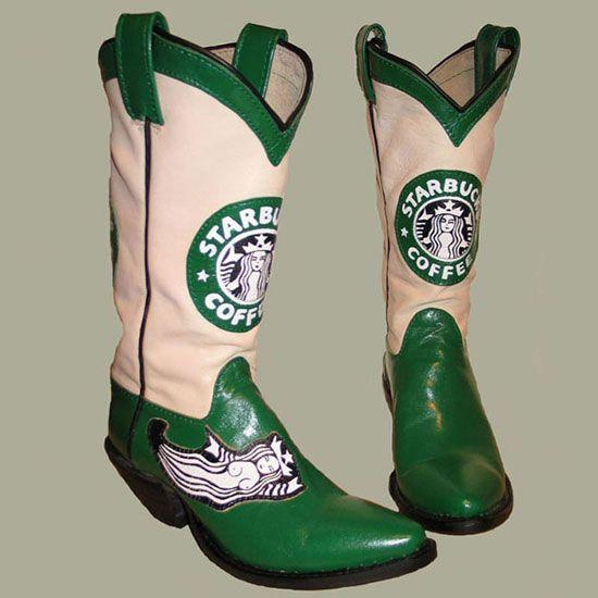 #STARBUCKS cowboy boots! For Tammy.Celeb Photos, Cowboy Boots, Starbucks Starbucks, Boots A Lici, Tornar- Cowboy, Luv Starbucks, Starbucks Addict, Starbucks Cowboy, Southwest Starbucks