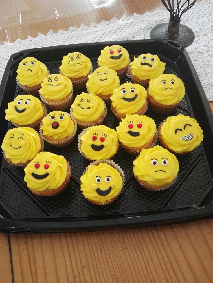 Emoji cupcakes made by mama!! #emoji #cupcakes #yellow #faces #baking