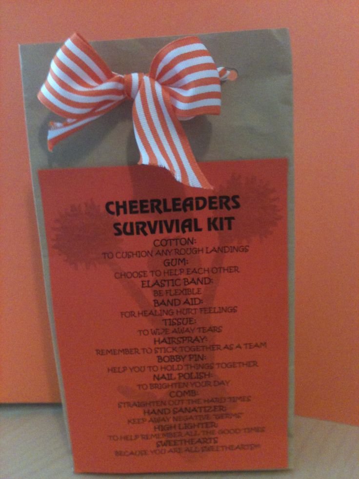 Best 25 cheerleading spirit gifts ideas on pinterest spirit nationals good luck gift brighton cheerleaders survival kit cheerleaders spirit cheerleading negle Images