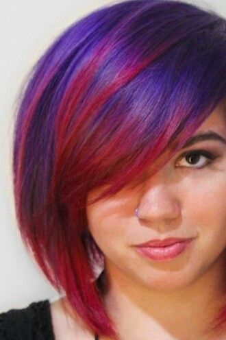 Purple and red dyed hair love this combo! I might do it in reverse and a shorter cut though. :)