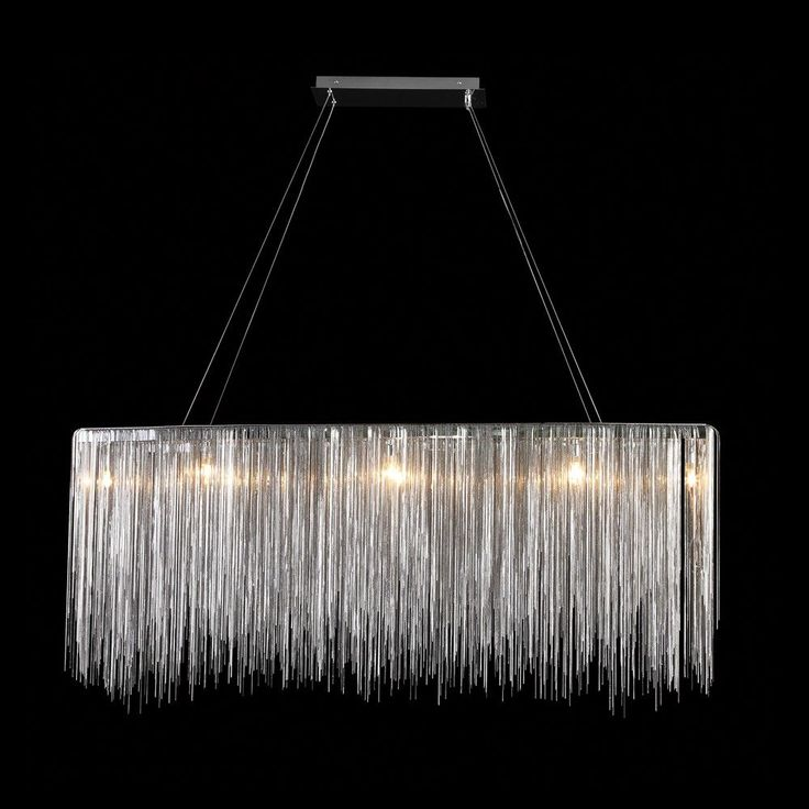 """Upcycle fixed fluorescent light fitting with fringing?                AK4023: Rectangular 4-PointFree-Hanging Crystal Glass Chain Chandelier (24""""-60"""" L) $2,461+"""