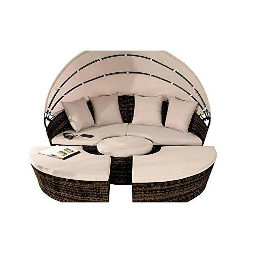 Comfy Living Rattan Day Bed Sun Lounger 210cm with Folding Canopy Patio Set in Brown---349.99---