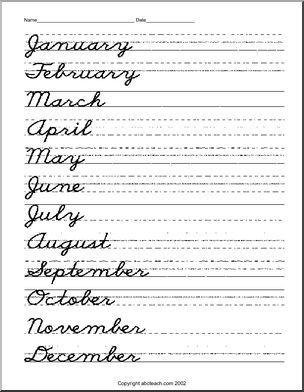 Cursive Handwriting - Handwriting Practice - Months | abcteach