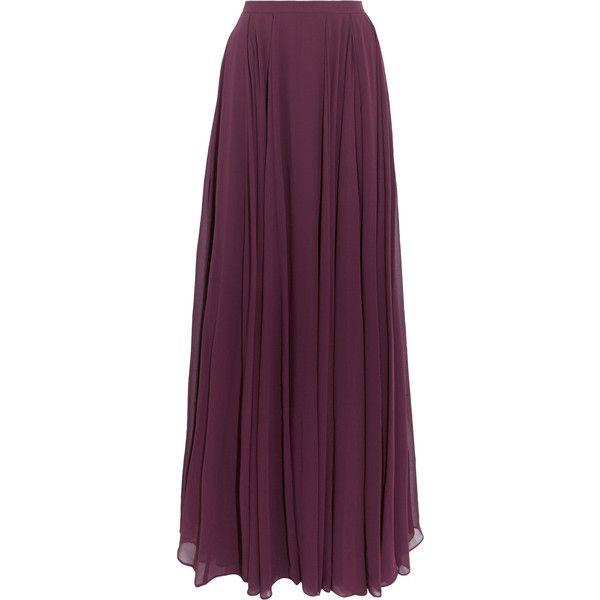 Halston Heritage Pleated georgette maxi skirt ($240) ❤ liked on Polyvore featuring skirts, grape, floor length skirt, pleated skirt, long purple skirt, pleated maxi skirt and ankle length skirt