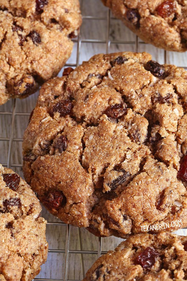 """These paleo """"oatmeal"""" cookies are crisp with a chewy center and taste very similar to classic oatmeal raisin cookies! Recipe has a vegan option."""