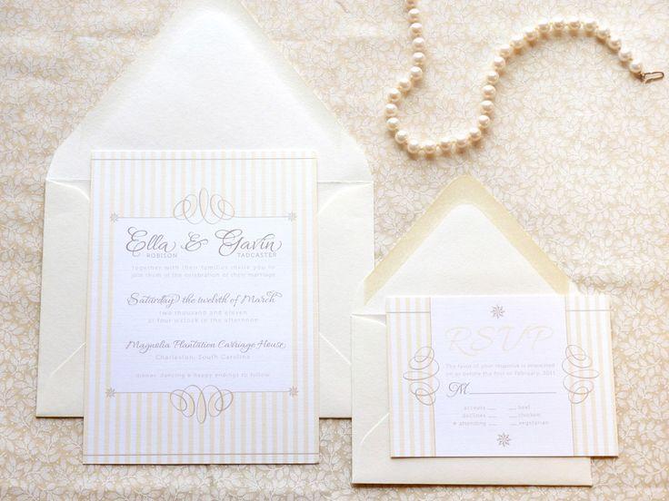 Seersucker Preppy Wedding Invitations by merrymint on Etsy