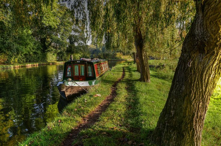 Colourful Canal boat on the River Wey.