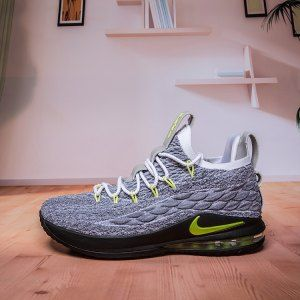 584ed327c44 Mens Nike Lebron James 15 XV Low Cool Grey Green Basketball Shoes ...