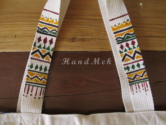 Cotton Tote Bag painted on handles.