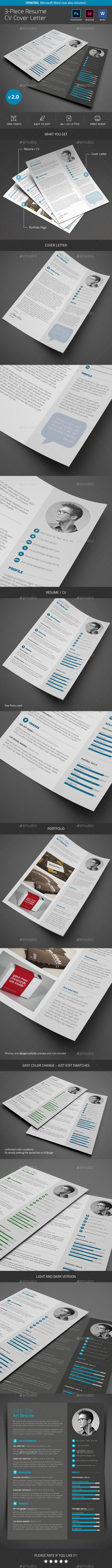 resume cv cover letter resumes stationery professional resume template cover letter resumecv portfolio with clean and trendy layout