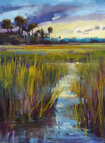 Choosing Underpainting Colors for a Large Painting, painting by artist Karen Margulis