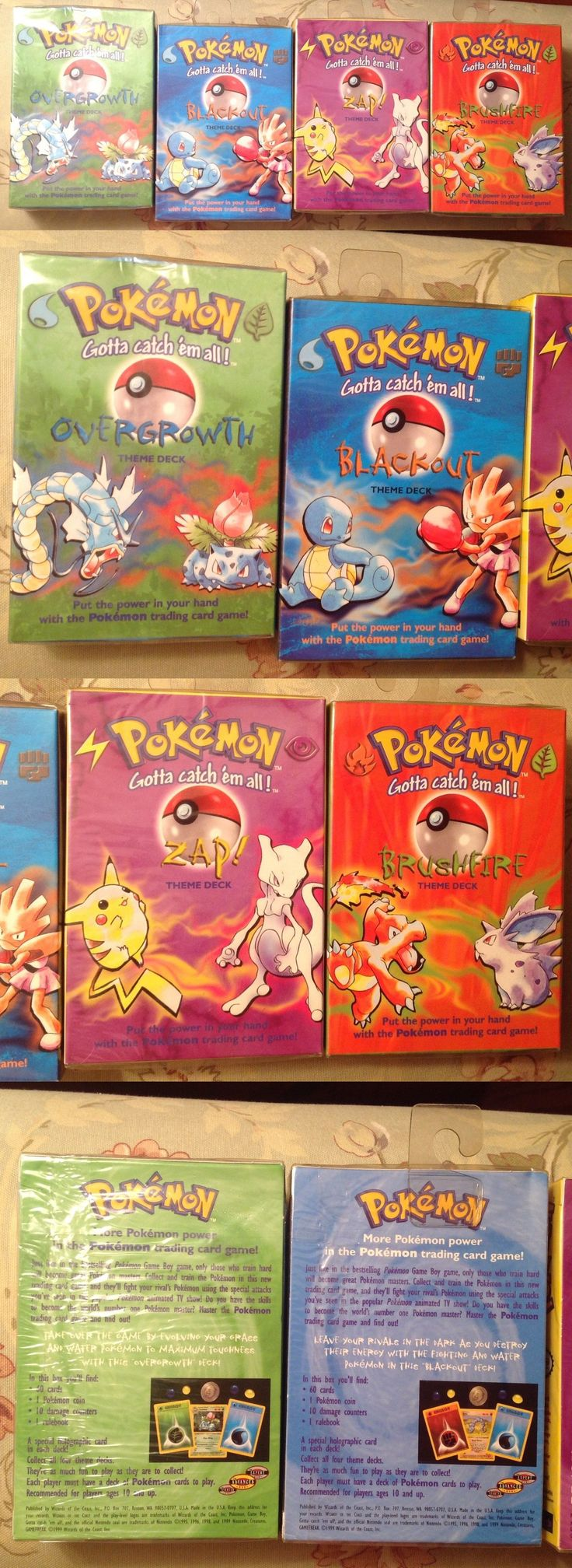 Pok mon Sealed Decks and Kits 183467: 1999 Pokemon Theme Decks, All 4- Overgrowth, Zap, Brushfire, Blackout - Sealed -> BUY IT NOW ONLY: $200 on eBay!