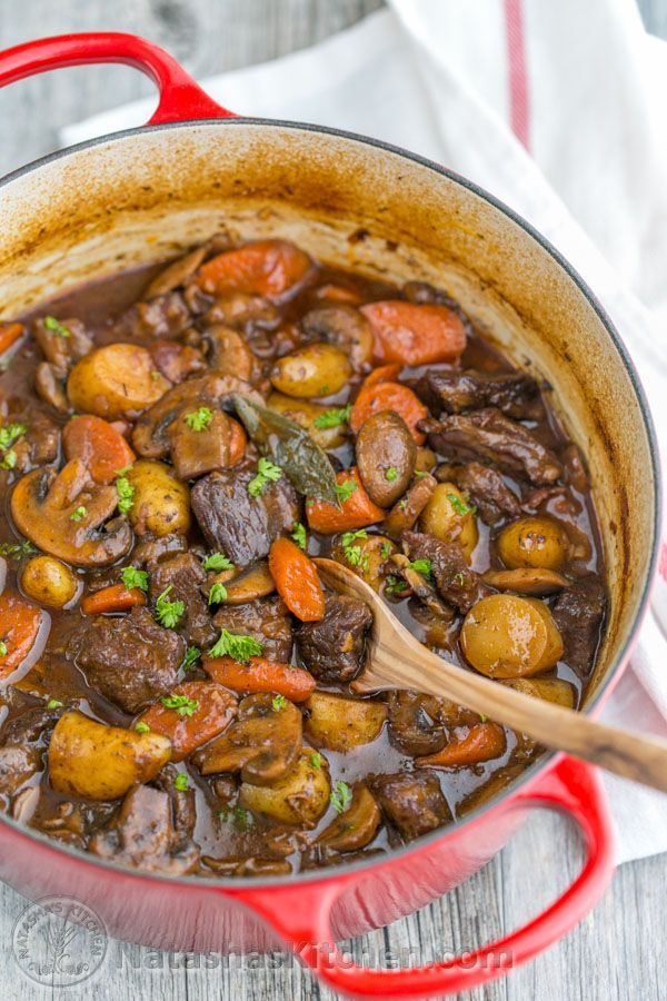 The beef is so tender and just melts in your mouth! Every bit of this beef stew is infused with wonderful flavor from slow roasting in the oven.:
