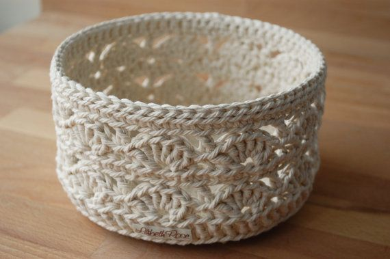 Beautiful Lace Crochet Basket large by LilibethRose on Etsy.  need to find a pattern for this!