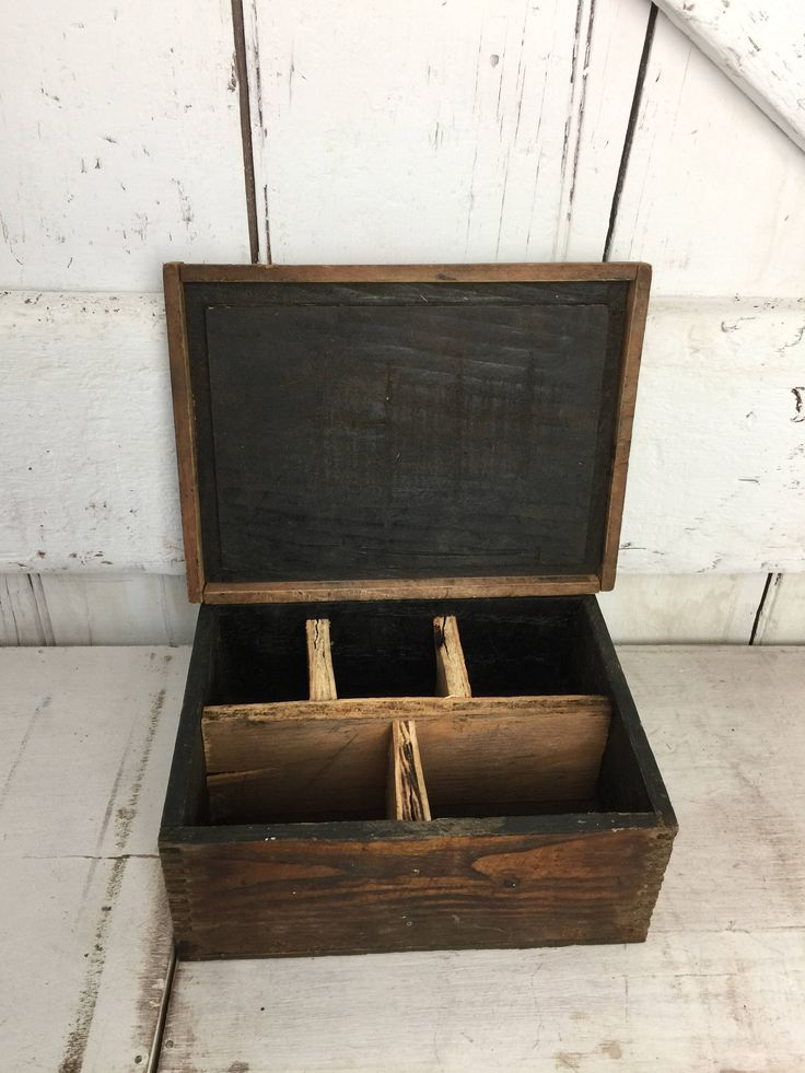 Rustic wood box with dividers and lid antique primitive wood box with dividers rustic by LititzCarriageHouse on Etsy