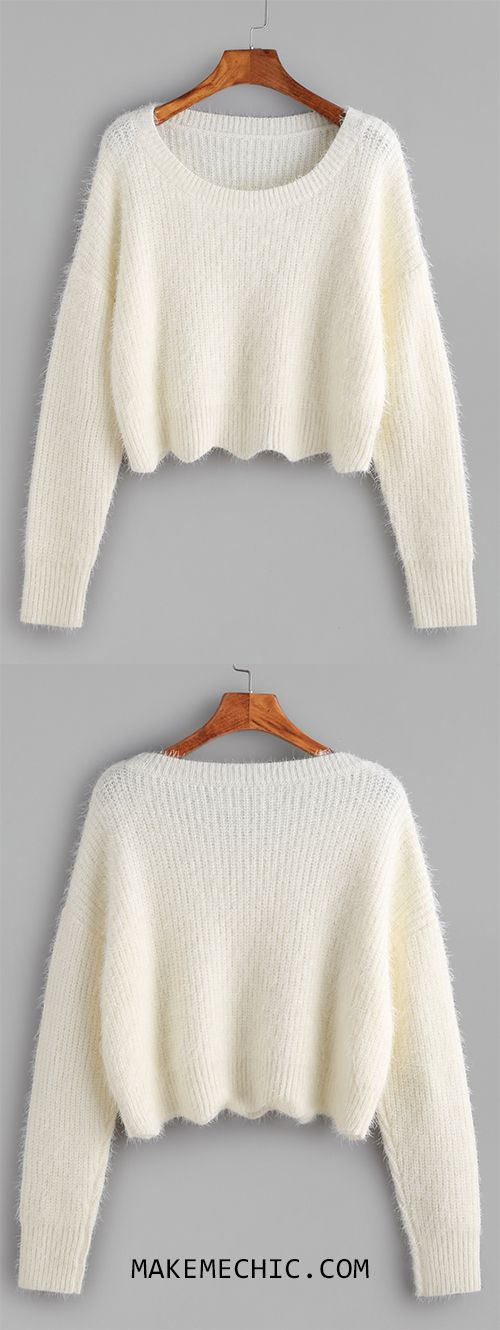 White Scoop Neck Drop Shoulder Crop Fluffy Sweater