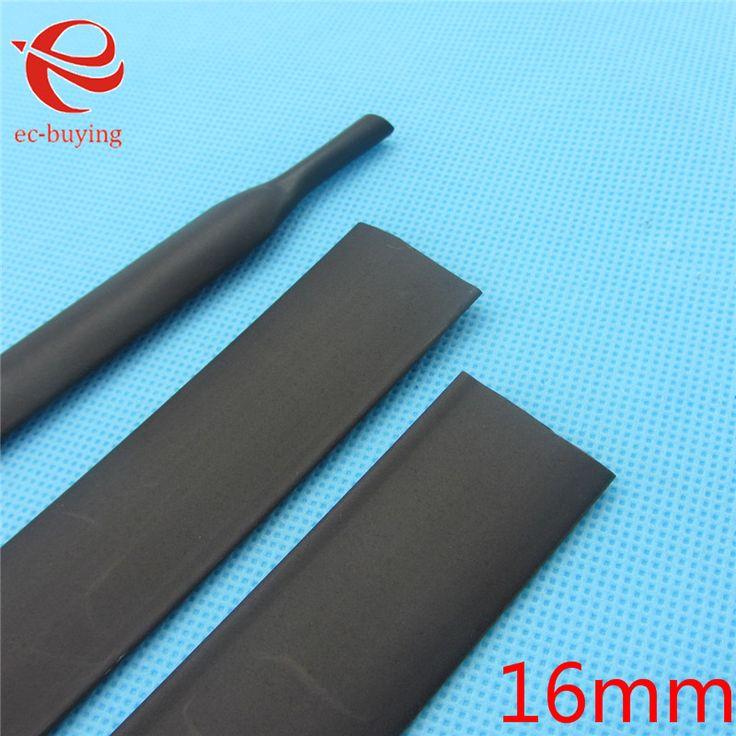 1 m Tabung Panas Menyusut Tabung Heatshrink Tubing Hitam Batin Diameter 16mm Kawat Wrap Kabel Kit