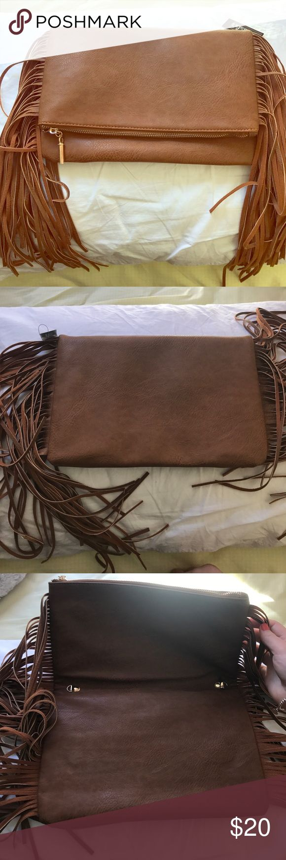 Lulus camel clutch Brown camel leather with gold zippers. Really fun Lulu's Bags Clutches & Wristlets
