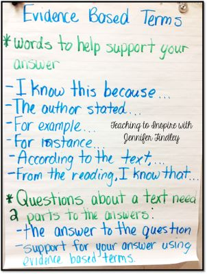 Teaching students to use evidence based terms anchor chart
