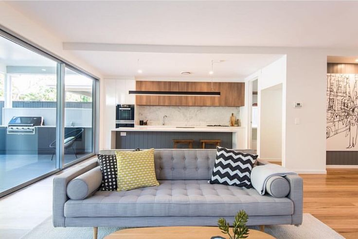 The Juno Daria sofa takes centre stage in an impressive living, kitchen and alfresco area built by @kalkahomes #GlobeWest #furniture #sofa #lounging