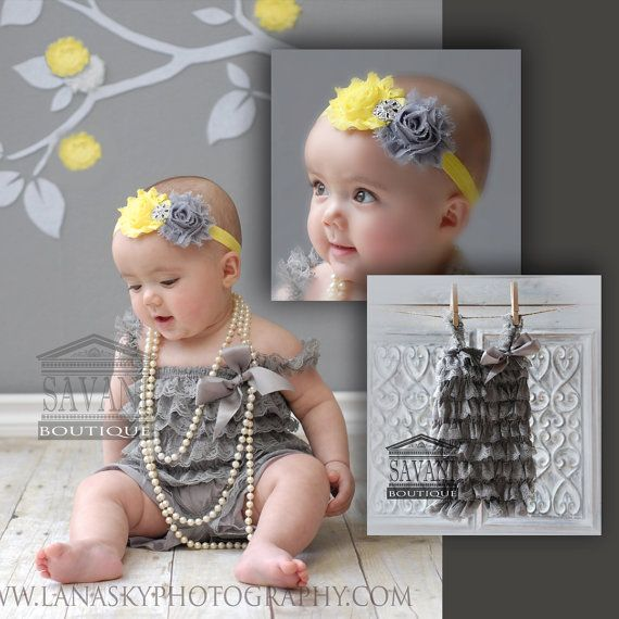 2 pieces gray and  yellow  Petti Romper Set. Lace Petti Romper , headband and romper, Baby Girl Photo Prop