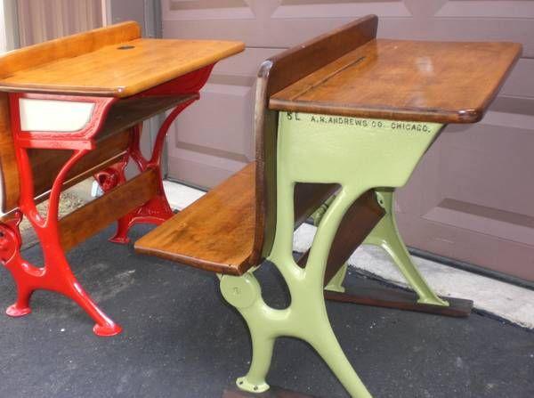 Antique school desks with painted cast iron sides and legs. Cheerful! - 35 Best Antique School Desk Images On Pinterest Antique School