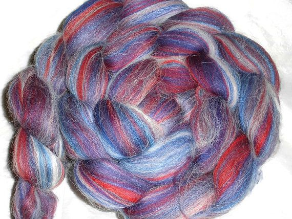 Tricolore Luxury Blend of Merino Silk and Black Baby Alpaca Roving - Spinning and Felting Fiber