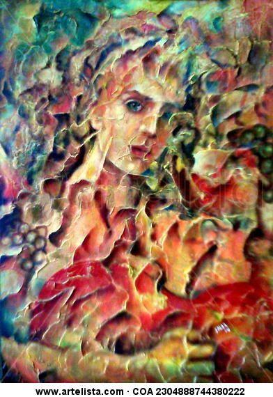 Título: BACO Y GUITARRA Técnica: MIxta con espátula sobre madera Autor: Jalar Dimensión: 70 x 50 cm. Año: 2014