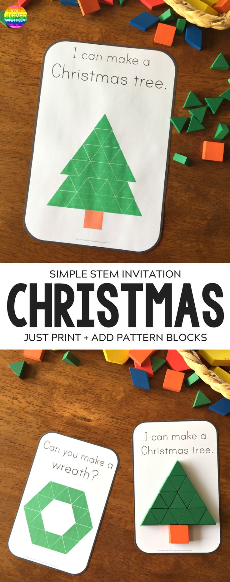 Christmas Pattern Block Challenge Cards | you clever monkey
